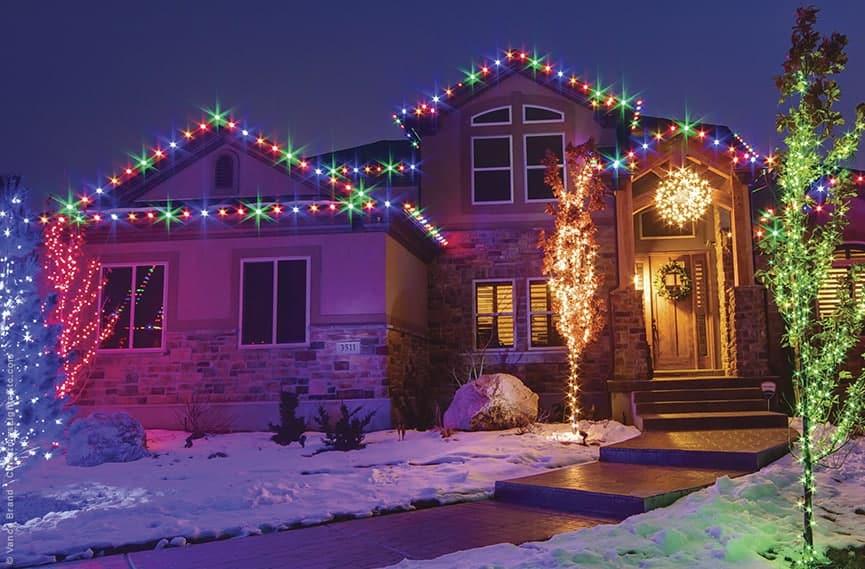 Giardino con luci di Natale
